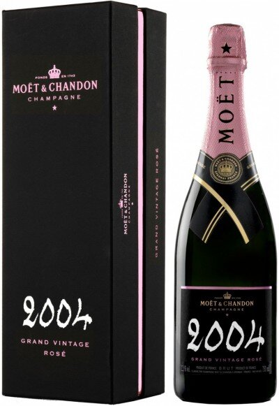 """Шампанское Moet & Chandon, """"Grand Vintage"""" Rose, 2004, gift box"""