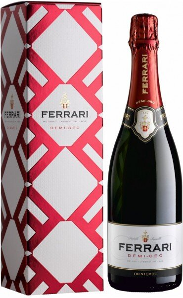 Игристое вино Ferrari Demi Sec, Trento DOC, gift box