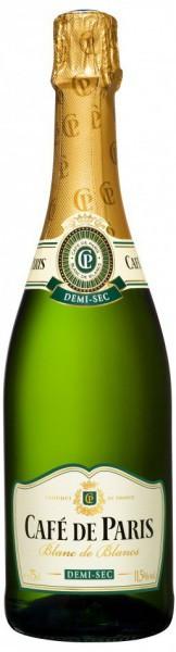 """Игристое вино """"Cafe de Paris"""" Blanc de Blancs, Demi-sec"""