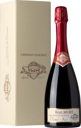 Игристое вино Rene Mure, Cremant d'Alsace Demi-Sec, gift box