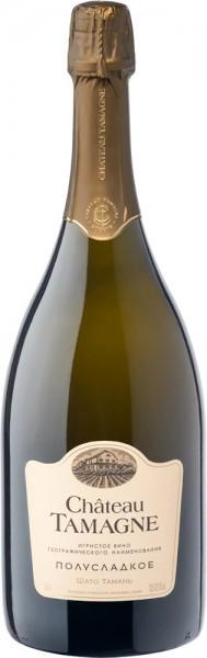 """Игристое вино """"Шато Тамань"""" белое полусладкое, 1.5 л"""