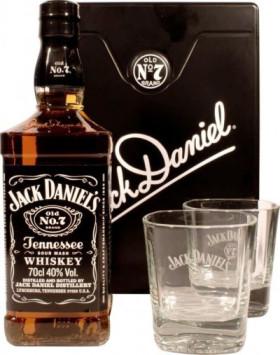 """Виски """"Jack Daniels"""", metal box with 2 glasses, 0.7 л"""