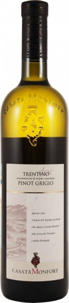 Вино Casata Monfort, Pinot Grigio, Trentino DOC, 2015