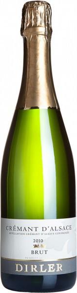 Игристое вино Dirler-Cade, Cremant d'Alsace AOC Brut, 2010