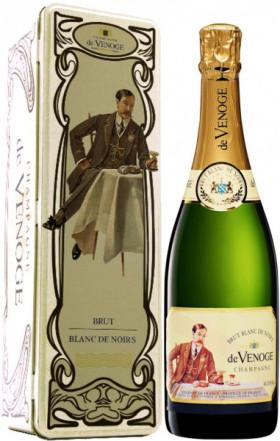 """Шампанское Champagne de Venoge, """"Blanc de Noirs"""" Brut, Champagne AOC, metal box"""