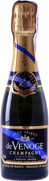 "Шампанское Champagne de Venoge, ""Cordon Bleu"" Brut Select, Champagne AOC, 0.2 л"