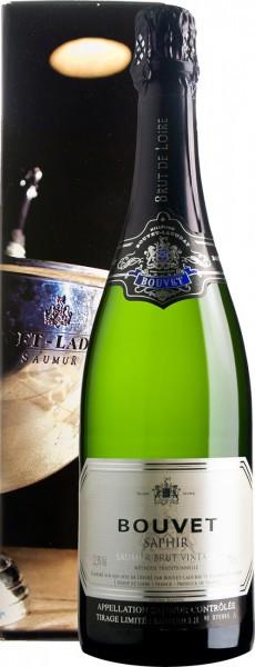 """Игристое вино Bouvet Ladubay, """"Saphir"""" Brut Vintage, Saumur AOC, 2014, gift box"""