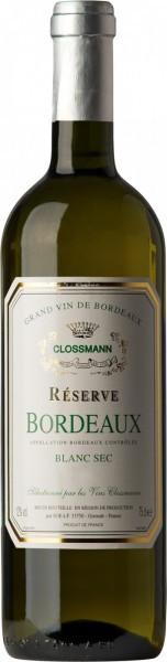 Вино Clossmann Reserve Blanc, Bordeaux AOC, 2011