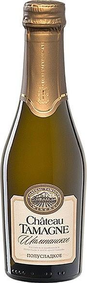"""Игристое вино """"Chateau Tamagne"""", Rossiyskoe Champagne, Semi-Sweet, 0.2 л"""