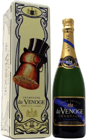 "Шампанское Champagne de Venoge, ""Cordon Bleu"" Brut Select, Champagne AOC, metal box"