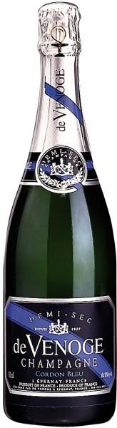 "Шампанское Champagne de Venoge, ""Cordon Bleu"" Demi-Sec, Champagne AOC"