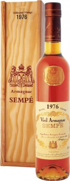 Арманьяк Armagnac Sempe, Millesime, Armagnac AOC, 1976, wooden box, 0.5 л