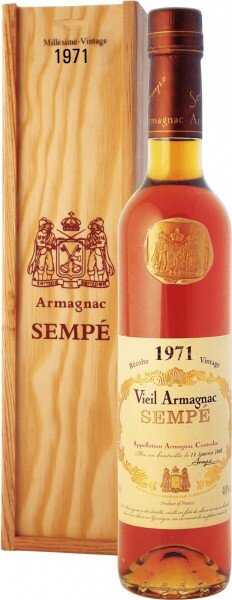 Арманьяк Armagnac Sempe, Millesime, Armagnac AOC, 1971, wooden box, 0.5 л