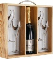 Шампанское Henriot Brut Rose with box and glasses