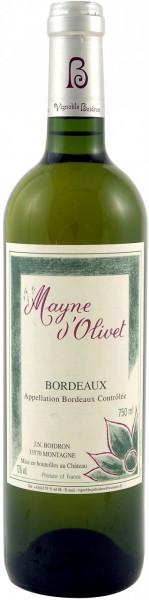 Вино Mayne d'Olivet blanc, Bordeaux AOC, 1999