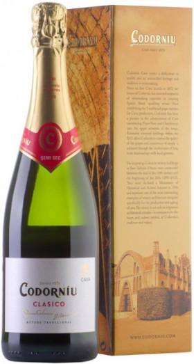 """Игристое вино """"Codorniu"""" Clasico Semi Seco, gift box"""