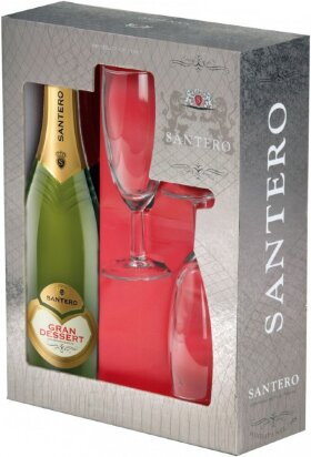 "Игристое вино Santero, ""Gran Dessert"", gift box with 2 glasses"