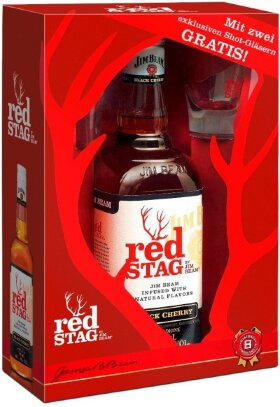"Виски Red Stag ""Black Cherry"", gift box with 2 glasses, 0.7 л"