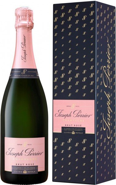 """Шампанское Joseph Perrier, """"Cuvee Royale"""" Brut Rose, blue gift box"""