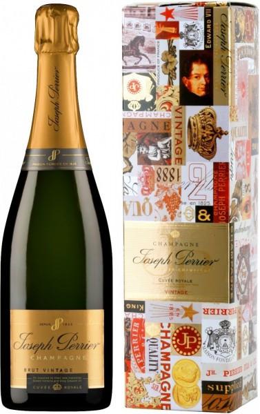 """Шампанское Joseph Perrier, """"Cuvee Royale"""" Brut Vintage, 2002, gift box"""