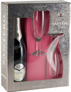 Игристое вино Santero, Brut, gift box with 2 glasses