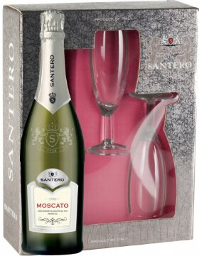 Игристое вино Santero, Moscato, gift box with 2 glasses