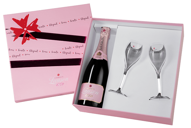 "Шампанское Lanson, ""Rose Label"" Brut Rose (with two glasses)"