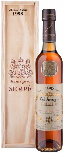 Арманьяк Armagnac Sempe, Millesime, Armagnac AOC, 1998, wooden box, 0.5 л