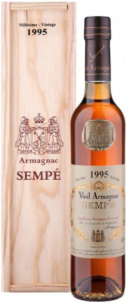 Арманьяк Armagnac Sempe, Millesime, Armagnac AOC, 1995, wooden box, 0.5 л