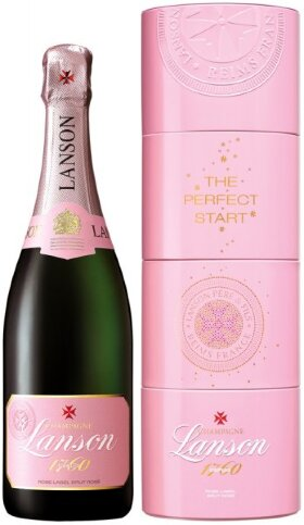 "Шампанское Lanson, ""Rose Label"" Brut Rose, gift box ""Twist Pack"""