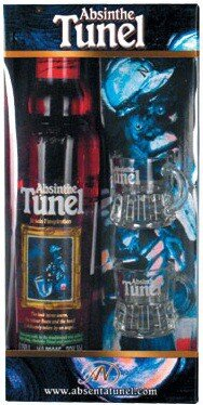 """Абсент """"Tunel"""" Red, gift box with 2 glasses, 0.35 л"""