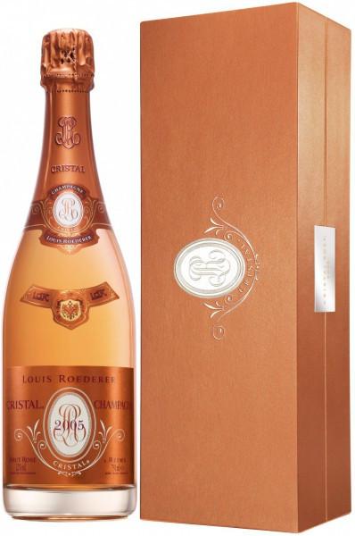 """Шампанское """"Cristal"""" Rose AOC, 2005, gift box"""
