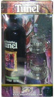 """Абсент """"Tunel"""" Black, gift box with two glasses, 0.35 л"""