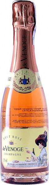 """Шампанское Champagne de Venoge, """"Brut Rose"""", Champagne AOC, 0.375 л"""