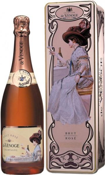 """Шампанское Champagne de Venoge, """"Brut Rose"""", Champagne AOC, metal box"""